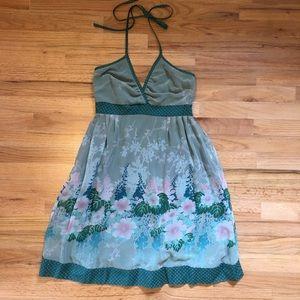 DKNY green flower halter dress.